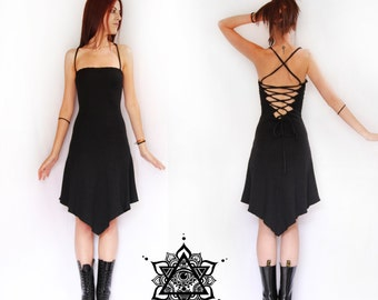 Amunet dress. Black dress, gothic dress, backless dress, lace dress, fantasy, goth dress, sacred geometry, festival, faery clothing, elven