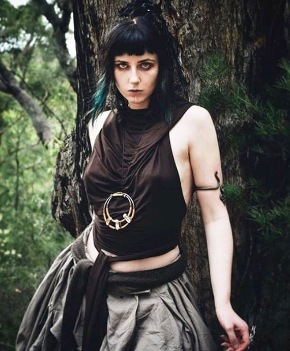 Summer green top Festival top Pixie top Wrap crop top Medieval top Cowl neck top Hooded backless summer top Game of thrones