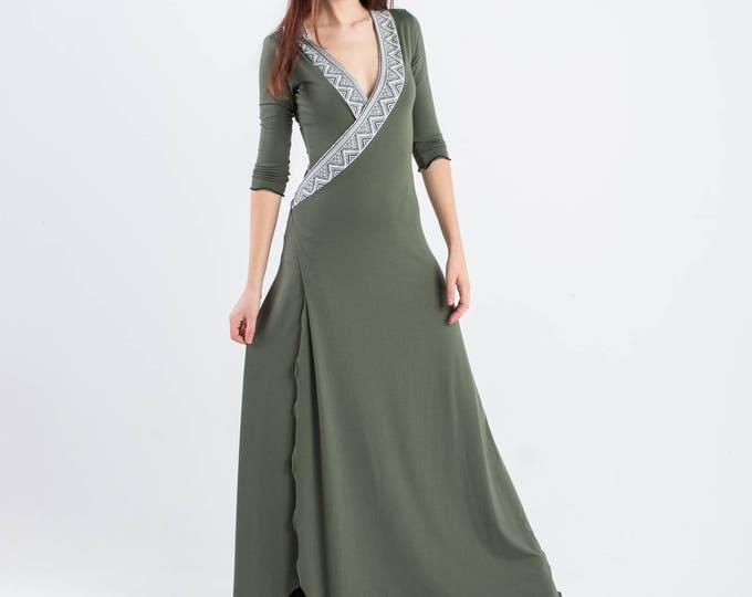 Boho long dress. Greek goddess maxi dress, party dress, boho dress, wrap dress, romantic dress, wedding dress, women dress, maxi long dress