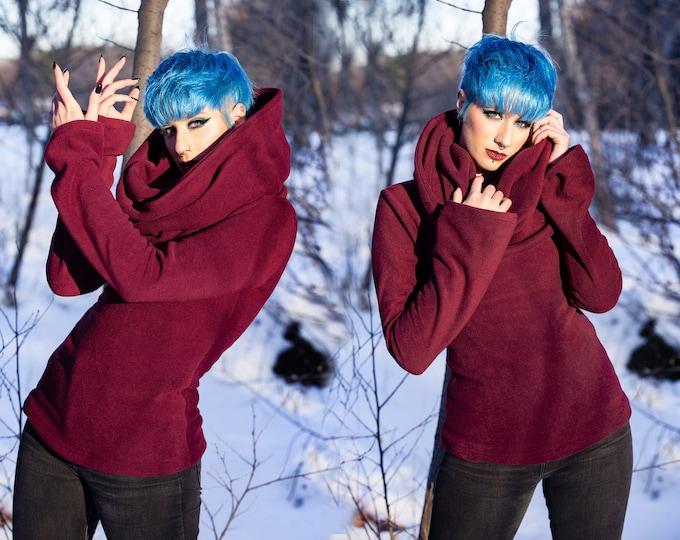 Cowl sweatshirt fleece top. Winter hooded top. Cowl polar sweater. Pixie hooded winter top. Red hooded elven top. Hoodie polar pixie top.