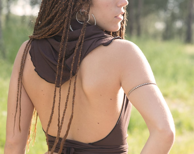 Brown hooded halter top, backless top, wrap crop top, gypsy topyoga top, festival clothing, burning man, medieval clothes, summer halter top