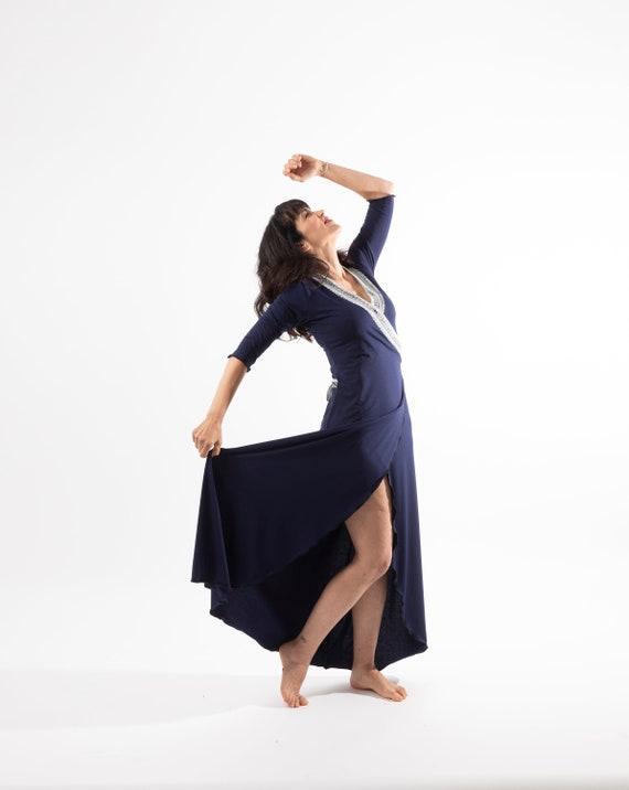 Bohemian wrap maxi dress. Boho dresses for woman. Long sleeve maxi dress. Boho maxi dress. Bridesmaid dress. Indigo blue maxi dress. Organic