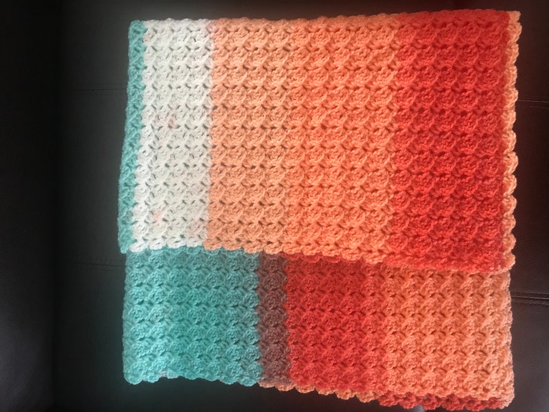 Ready to Ship** Crochet Peach,Coral,Teal and White Shells Light Weight and Airy  Baby Blanket