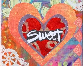 Sweet Heart Mixed Media Original Collage