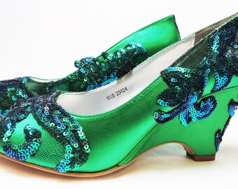 81a85649976 ALICIA Collection - WeDDING WEDGES - Emerald-Green - Tourquoise Overlay -  Pretty as a Peacock - Sz 10.00