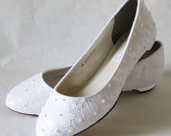 WeDDING LACe FLATs - PARIS Collection - WHITE Lace Overlay with White Pearl Centers