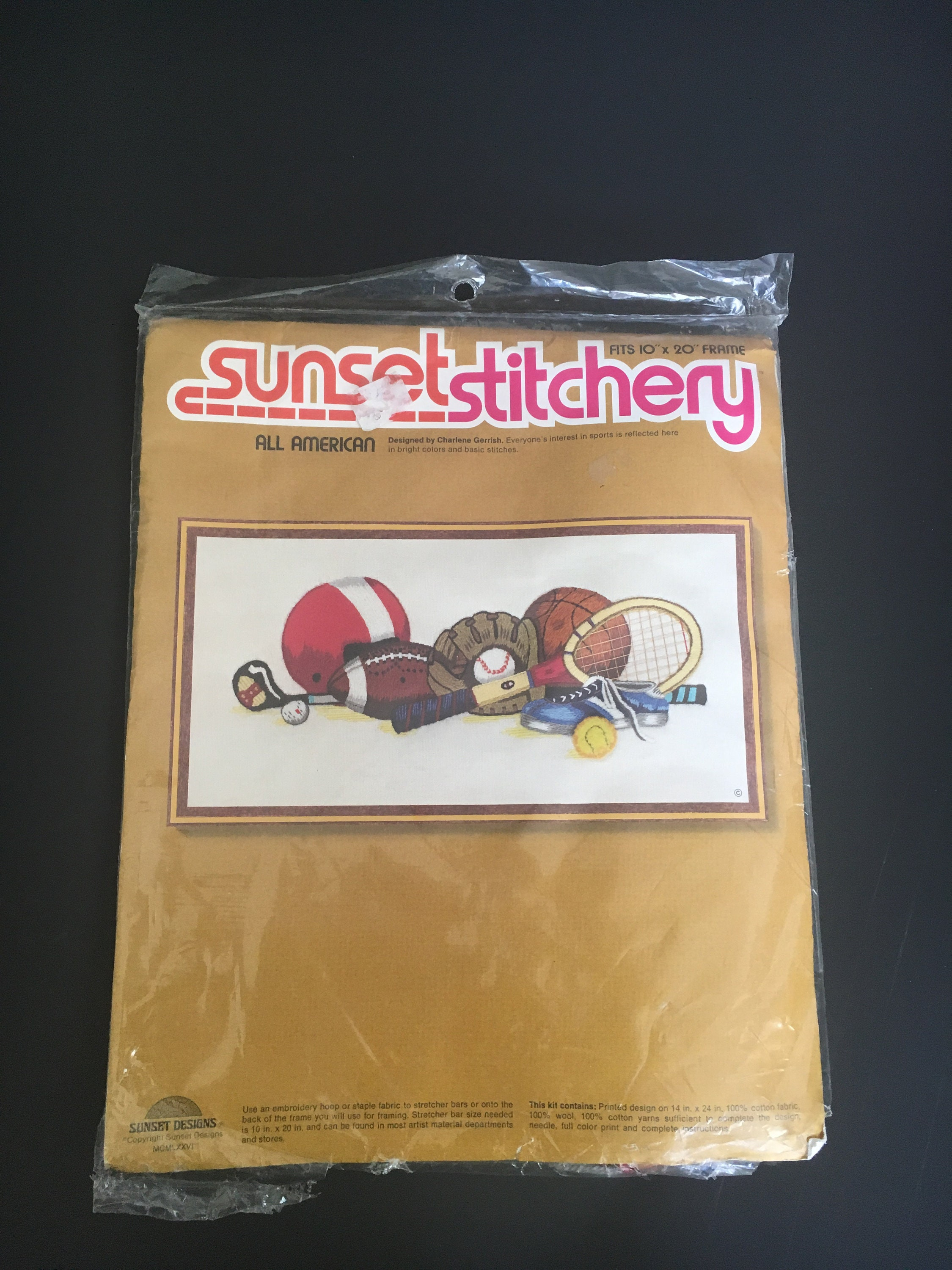 Vintage 1976 Sunset Stitchery  All American  Designed by Charlene Gerrish