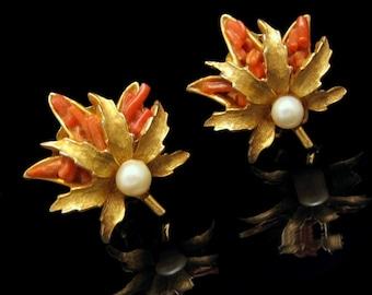 CAPRI Vintage Clip Earrings Mid Century Faux Pearl Coral Glass Leaf Matte Goldtone