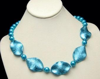Vintage Faux Pearls Necklace Aqua Blue Glass Iridescent Discs Unique Design