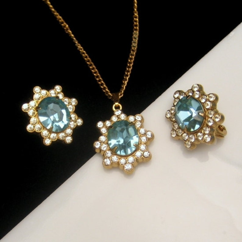 CORO PAT PEND Vintage Rhinestone Necklace Earrings Mid Century image 0