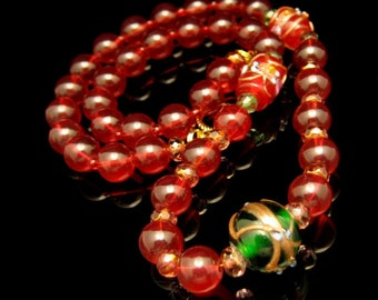 Vintage Wedding Cake Beads Necklace Mid Century Red Green Glass Cane Crystals Chunky