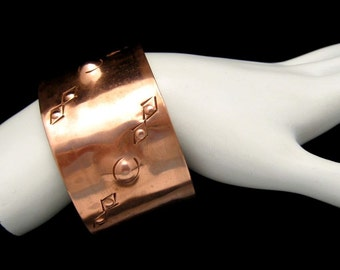 HAND MADE Wide Vintage Copper Cuff Bracelet Mid Century Chased Hammered