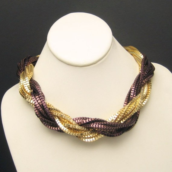 Vintage Torsade Necklace Mixed Metals 2 Colors Multi 14