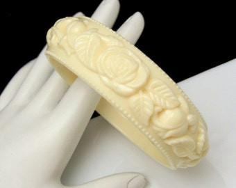 Vintage Cream Acrylic Wide Bangle Cuff Bracelet Carved Flowers Roses Large 8in