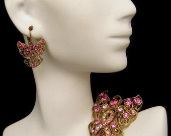 Vintage Filigree Large Angel Pink AB Rhinestones Brooch Pin Earrings Set