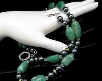 Vintage Chunky Green Agate Beads Necklace Hematite Crystal Glass