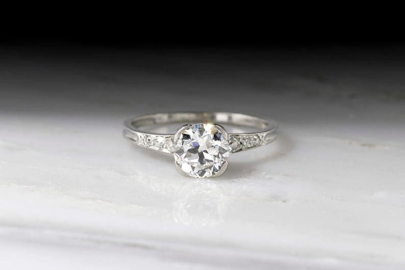 a76cd4702 Vintage Art Deco / Retro Marcus & Co. Engagement Ring with GIA   Etsy