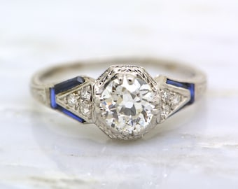 RESERVED!!! Payment 1-of-2 Edwardian 1.1ct Old Mine Cut Diamond and Sapphire Engagement Ring in Platinum; Engraving, Milgrain PP-R504