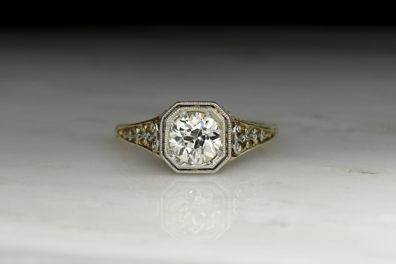 c983af1aa Vintage c. 1940s Victorian Revival Engagement Ring with a GIA   Etsy