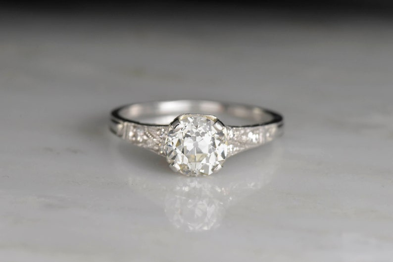 f126c573d Vintage Late Edwardian Engagement Ring: GIA Certified 1.21   Etsy