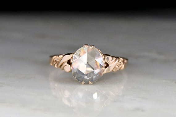 RESERVED!!! Antique Victorian Engagement Ring: 1.… - image 1
