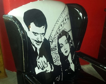 Adams family CHAIR REPURPOSED-- from vintage chair , one of a kind, themed,art chair,easy chair,hand painted chair, black This one is sold!!