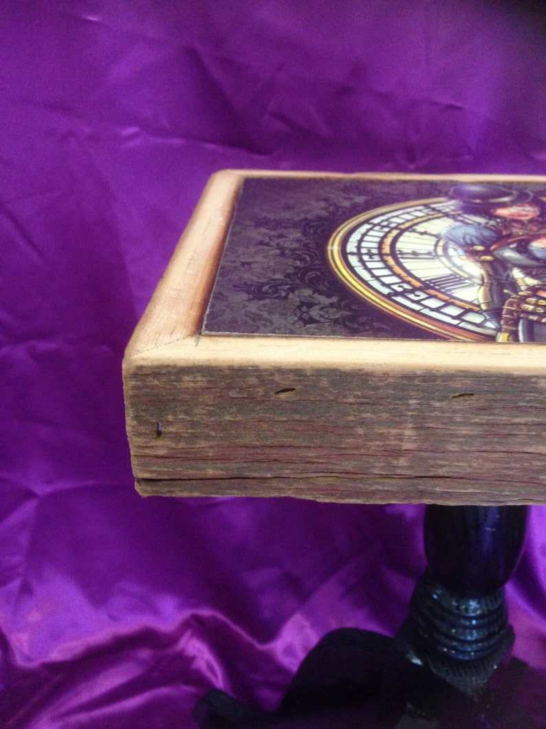 Steampunk themed 20 inch high accent table with rustic wood trim night stand, side table lamp table