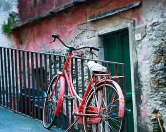 Travel photography, Cinque Terre, Italy, Liguria Coast, Monterosso Al Mare, Fine Art Print, Bicycle, Red Bike