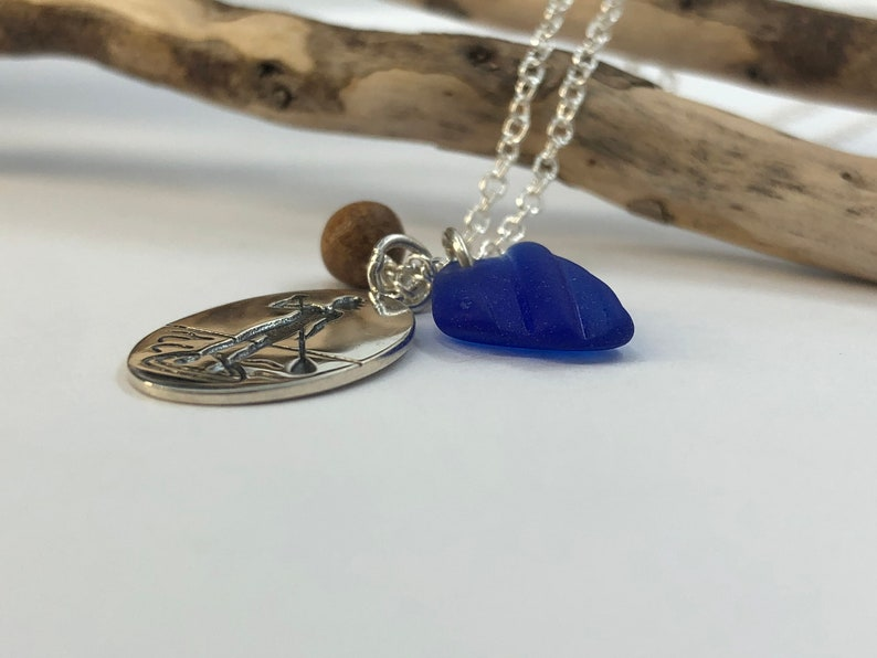 Paddle Board Charm Necklace Sea Glass Cluster Necklace Blue Sea Glass Lake Superior Sea Glass Blue Sea Glass Jewelry
