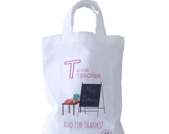 Thank You Teacher Personalised Bag - Mini Tote - Long Handled Tote - Book Bag
