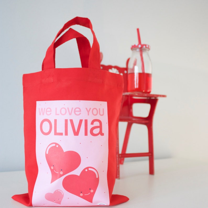 Childrens Valentine Valentines Day Red Valentines Gift Heart Personalised Valentines Mini Tote Bag Kids Valentine Love
