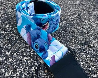"""Guitar Strap in """"Stitch Blue Hawaii"""" Fabric"""