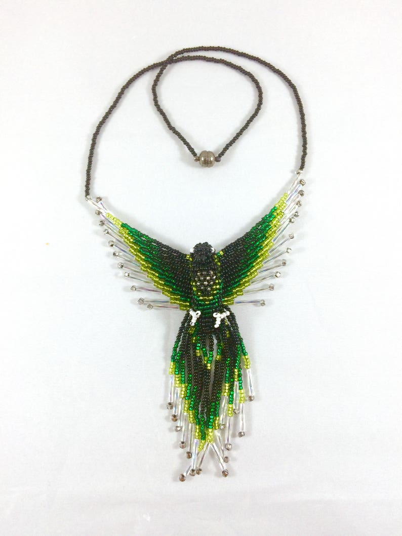 Phoenix Bird Pendant Necklace Green Glass Bead Firebird image 0