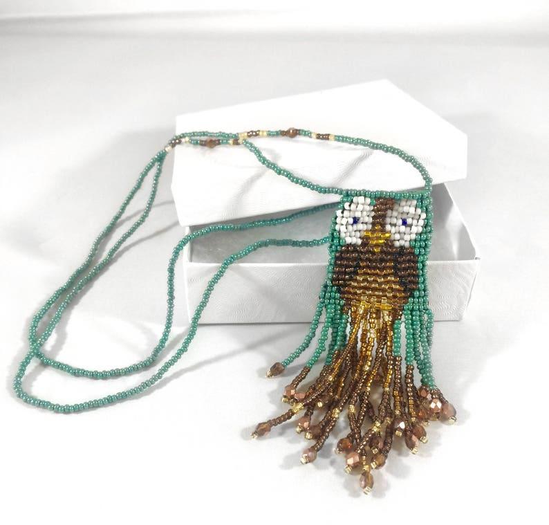 Mini Beaded Owl Amulet Bag Necklace-Unique Aromatherapy image 0