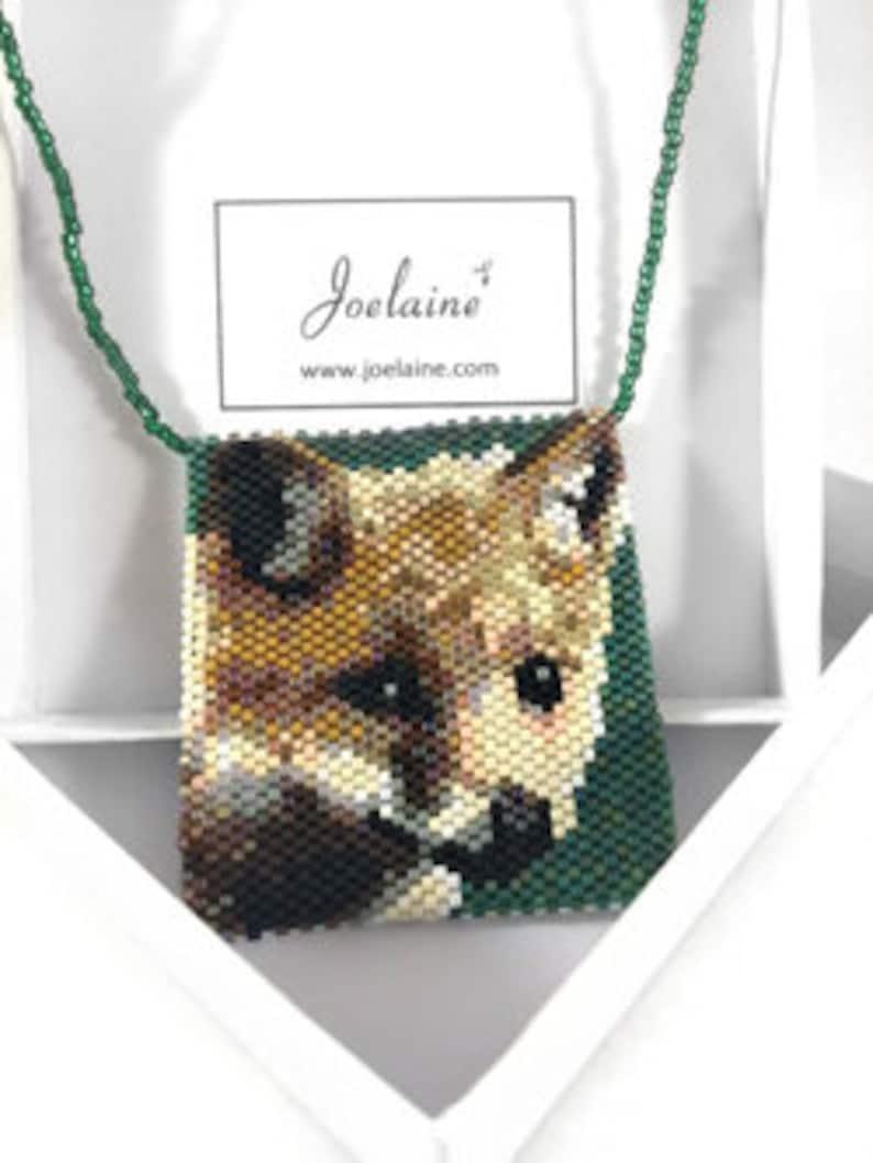 Fox Beaded Necklace Amulet Pouch  Unique Medicine Bag Crystal image 0