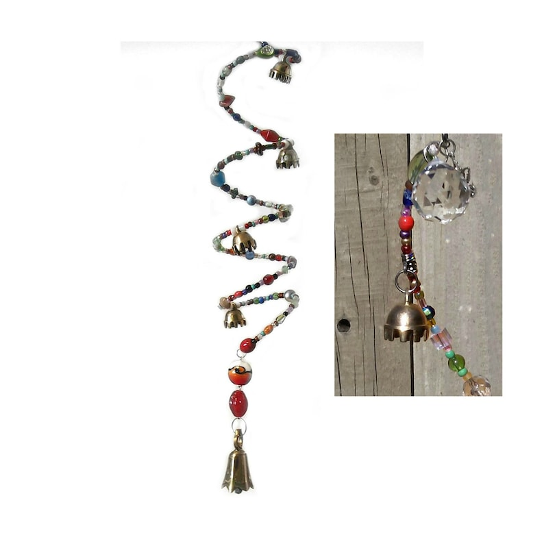 Spiral Bell Crystal Prism Wind Chime Sun Catcher Glass Bead image 0
