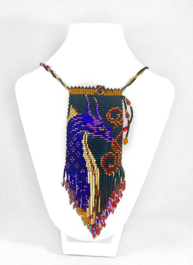 Beaded Dragon Amulet Necklace Fringe Bag  Unique Festival image 0