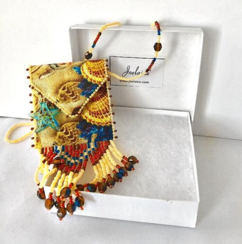 Sea Shells Necklace Amulet Pouch-Unique Medicine Bag image 0
