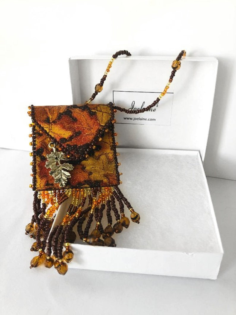 Autumn Leaves Necklace Amulet Pouch  Unique Medicine Bag image 0