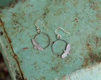 Oxidized Sterling Silver Ellipse Soaring Hawk Dangily Earrings
