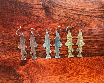 Realistic Textured Trout Salmon Dangily Earrings in Sterling Copper or Brass