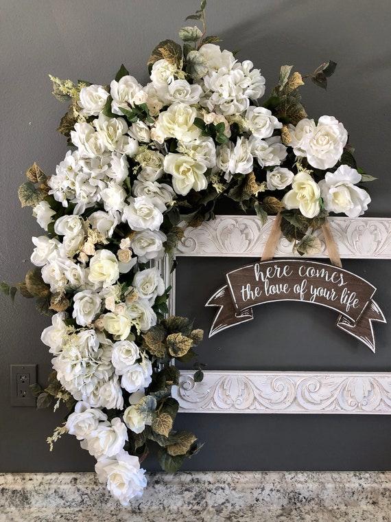 White wedding ceremony arch wedding arch flowers arch etsy 50 mightylinksfo