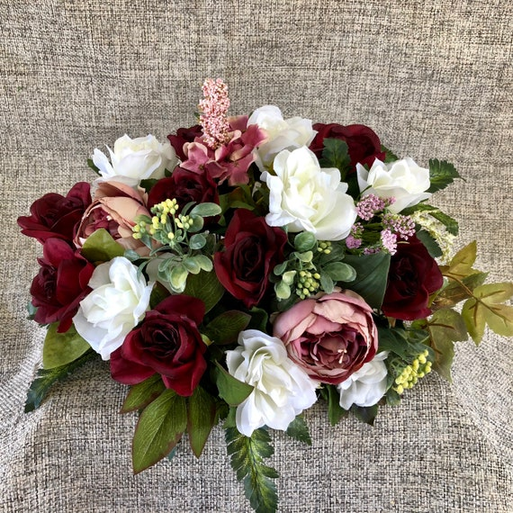 Low Cost Wedding Flowers: Bridal Table Centerpiece Burgundy Blush Pink Wedding