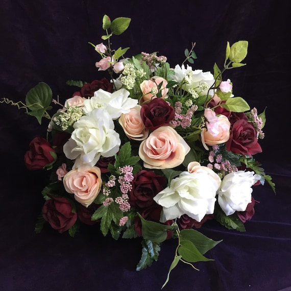 Wedding Flower Center Pieces: Bridal Table Centerpiece Burgundy Blush Pink Wedding
