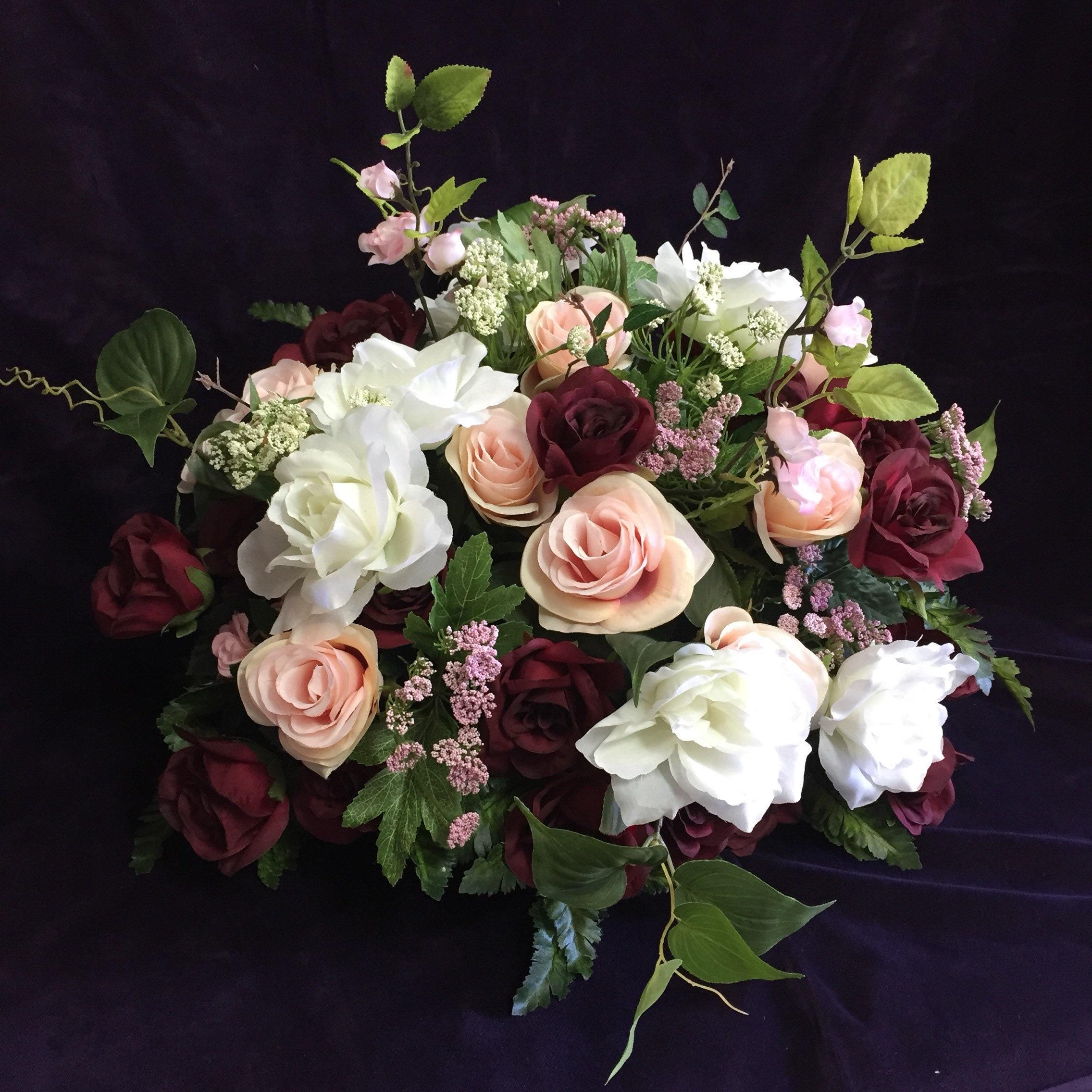 Pink Flower Centerpieces For Weddings: Bridal Table Centerpiece Burgundy Blush Pink Wedding