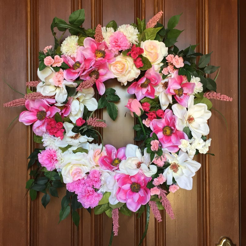 Spring Wreath Door Decoration Magnolia Wreath Front Door Etsy