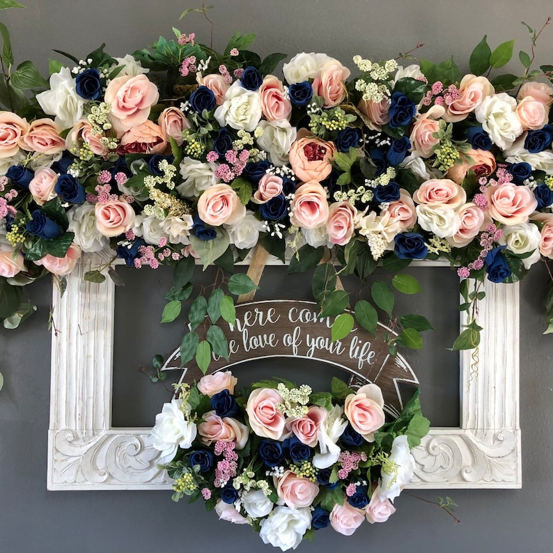 Navy And Blush Wedding.Blush Navy Wedding Arch Package Blue Wedding Arch Swag Wedding Arch Flowers Navy Arch Flowers Blue Wedding Swags Navy Blush Wedding