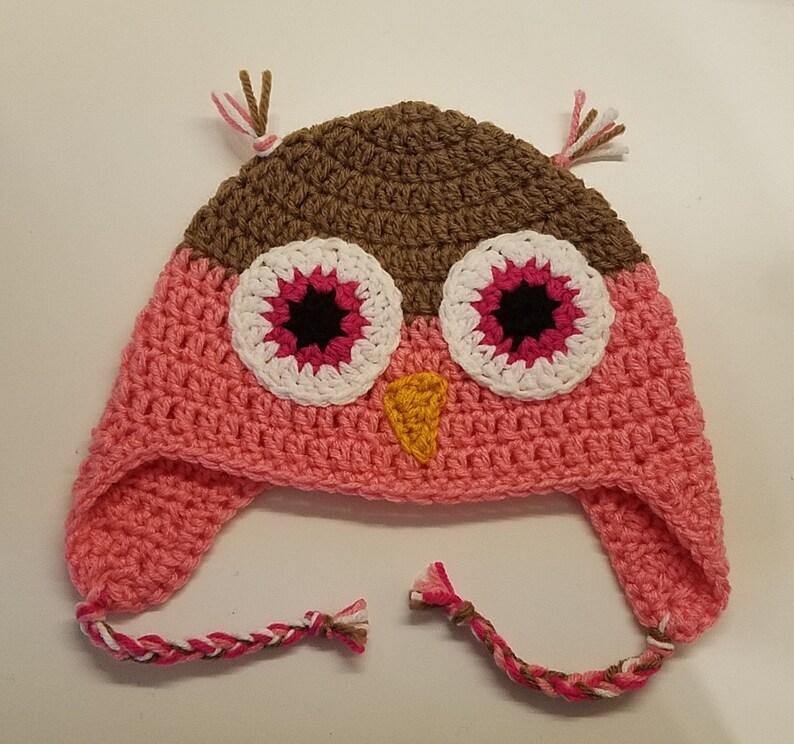 688ed58a3fd Crochet Owl Hat Earflap Winter Hat Halloween Costume Accessory
