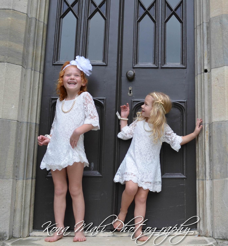Autumn soft white flower girl lace dress girl dress for etsy zoom mightylinksfo