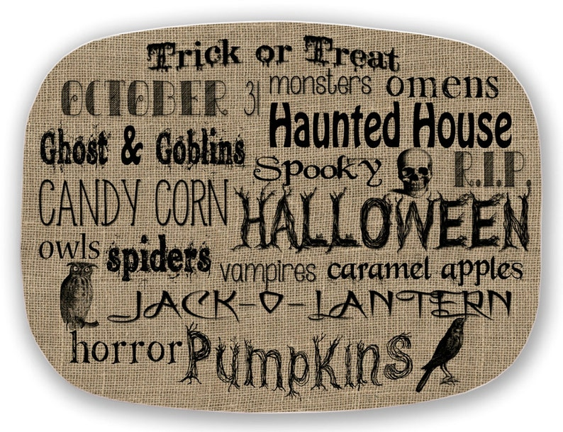 Melamine Platter HAPPY HALLOWEEN Words VinTAGE Collection image 0